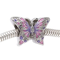 Beadaholique 2-Sided Pink and Purple Butterfly Large Hole Bead, Fits Pandora, Silver Tone