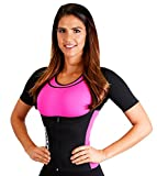Body Spa EASY BREATHE Sauna Vest with Sleeves Neoprene Exercise Gym sweat suit Weight Loss 14149 (Large, Pink)