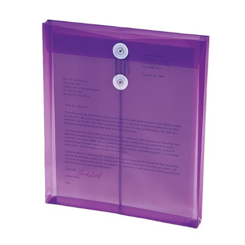 Translucent Envelopes,Top Opening,Letter-Size,5/PK,Purple - 2pc