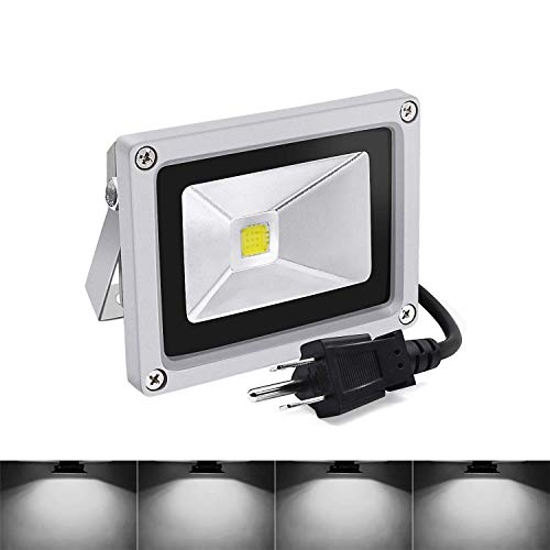 Led Flood Lights,10W Daylight White Outdoor Spotlight, 6000K IP65 Waterproof Garden Light with US 3-Plug (Daylight White) (Lights Flood Ideas Christmas)