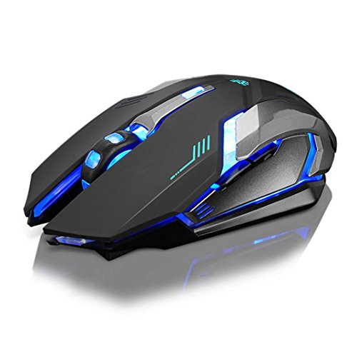 Xisheep Wireless Mouse, 2.4G Professional Rechargeable X7 Silent LED Backlit USB Optical Ergonomic Gaming Mouse Mice for PC, Laptop, Tablet, Computer, and Mac ()