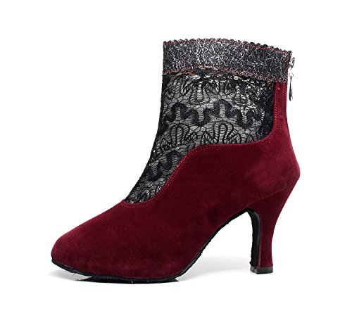 Shoes Boots Wedding Women's 5cm Latin Heel Ankle Evening 7 Ballroom TQJ7101 Tango Zipper Lace Minitoo Suede Red Dance YOzwaHqxP5