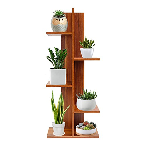 Deluxe Wood Closet - Jerry & Maggie - 5 Tier Bookcase Rustic Bookshelf Plants Flowers Shelf Display Storage Wood Closet Organizer Multi Units Deluxe Free Stand Shelving Shelves Rack Curve Cabinet - Dark Natural Wood Tone