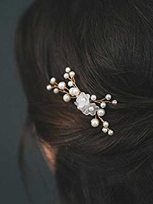 Venusvi Ivory Pearl Bead Clip, Bridal Hair Pins, Wedding Hair Accessories, Set of 2