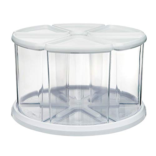 Deflecto Rotating Carousel Craft Storage Organizer, 9-Canister Configuration Includes 3'' and 6'' Canisters, Removable, Clear, White Lids (3901CR) by Deflecto