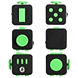 LEDeng Fidget Cube Relieves Stress And Anxiety for Children and Adults Anxiety Attention Toy (Black Green)