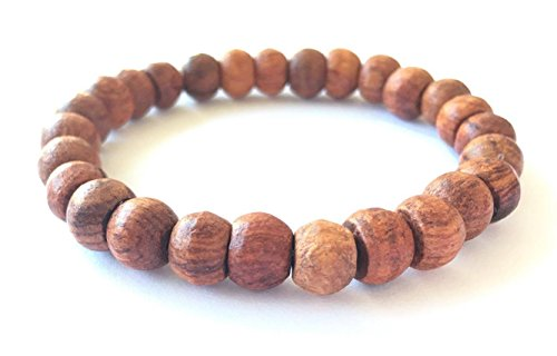 RATREE SHOP Thai Buddhist Wooden Prayer Blessed Beads Mala Brown color Wristband Bracelet from Thailand