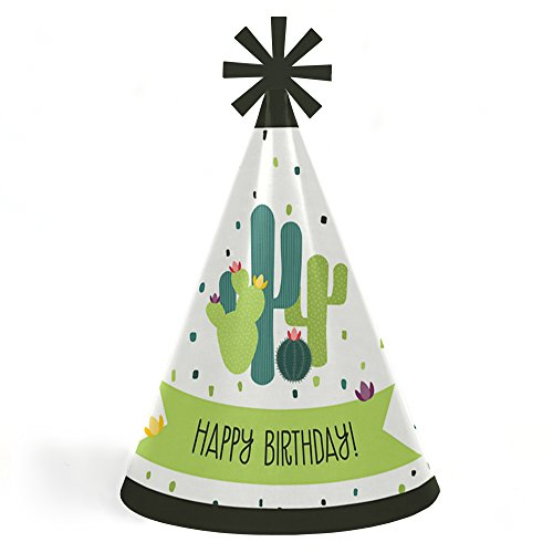 Prickly Cactus Party - Cone Happy Birthday Party Hats for Kids and Adults - Set of 8 (Standard Size) by Big Dot of Happiness