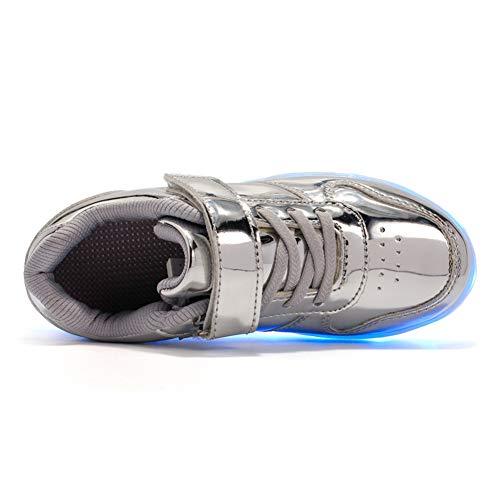 Chaussures Rechargeable Clignotants Usb Garçon Mode Argent Dessus Life Licy Mutilsport Lumineuse Enfants Unisex Shoes 518 Couleurs Fille 7 Sneaker uk Securité Led Zv8aqvS