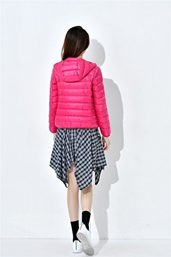 Red Hooded Puffer Tops Down Down Jacket Rui Women's Warm Packable Winter Rose Coat YY Lightweight n16RSqE