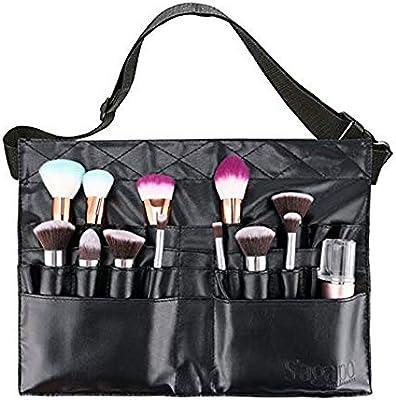 Bolsa de brocha para maquillaje Estuche para cosméticos profesional Organizador de 28 bolsillos con correa de cinturón para artista: Amazon.es: Belleza