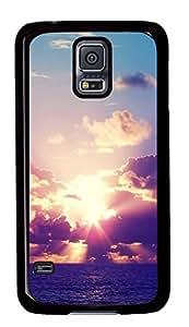 Diy Fashion Case for Samsung Galaxy S5,Black Plastic Case Shell for Samsung Galaxy S5 i9600 with Setting Sun