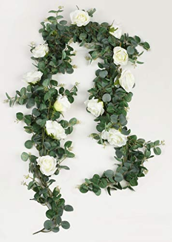 Roses Eucalyptus - Furnily Artificial Eucalyptus Garland with Roses 2Pcs 11.8Ft/Total Greenery Garland Eucalyptus Leave for Table Wedding Backdrop Wall Decor(2Pcs)