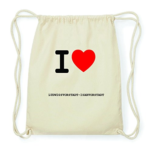JOllify LUDWIGSVORSTADT-ISARVORSTADT Hipster Turnbeutel Tasche Rucksack aus Baumwolle - Farbe: natur Design: I love- Ich liebe Ai8LI