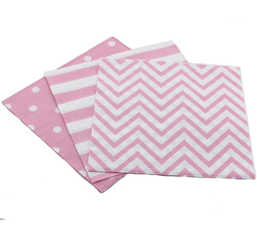Youmewell Disposable Striped Chevron Polka Dot Pink Paper Luncheon Napkins 60 Count 13