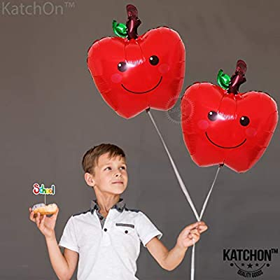 Apple Balloons for Party Decorations - Pack of 2 | 18 Inchs | Back to School Decorations | Farmers Market Decoration | Fruit Balloons Décor | Apple of our Eye | Fall themed Birthday Party Supplies: Toys & Games