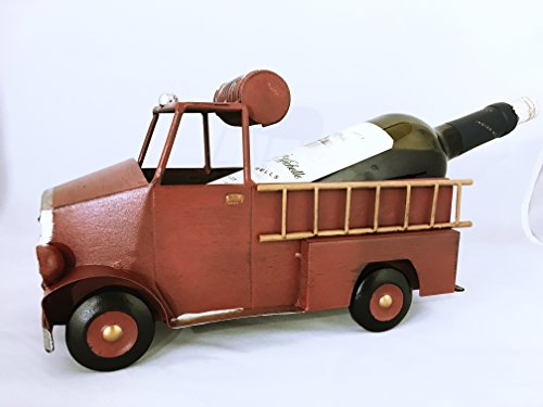 Best Creative Tabletop Iron Vintage Paint Style Wine Stand Single Bottle Holder for Decorative Grea Idea For Holidays Excellent Handling With Good Details -- Fire Truck Wine Stand