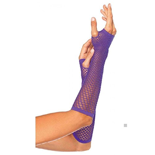 Fishnet Gloves Long Fingerless Adult Womens 80s Halloween Costume Fancy Dress