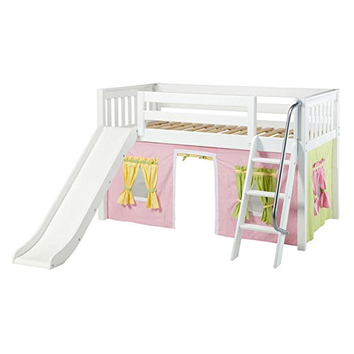Wow Girl Slat Low Loft Tent Bed with Slide