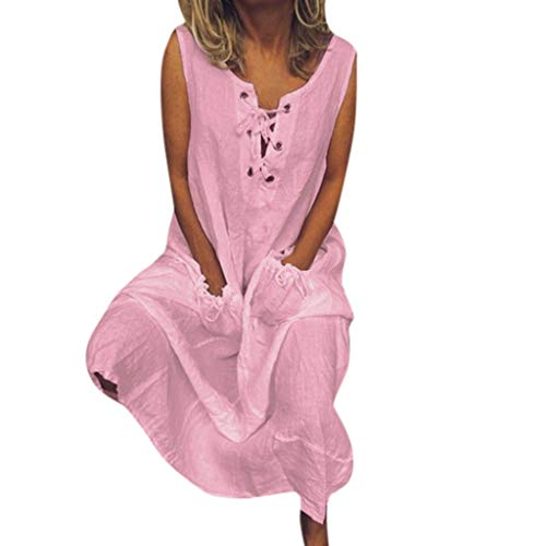 iBOXO Women's O-Neck Dress Casual Loose Solid Color Summer Vacation Ankle-Length Dress(Pink,M)
