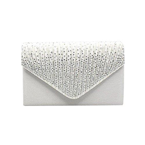 Ladies Diamante White Bag Bridal Satin Clutch Ladies erthome Handbag Large Evening 1pc awnCq