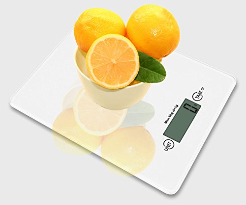 INSEN Digital Kitchen Scale, Multifunction Food Scale, Tempered glass surface simple style design, White