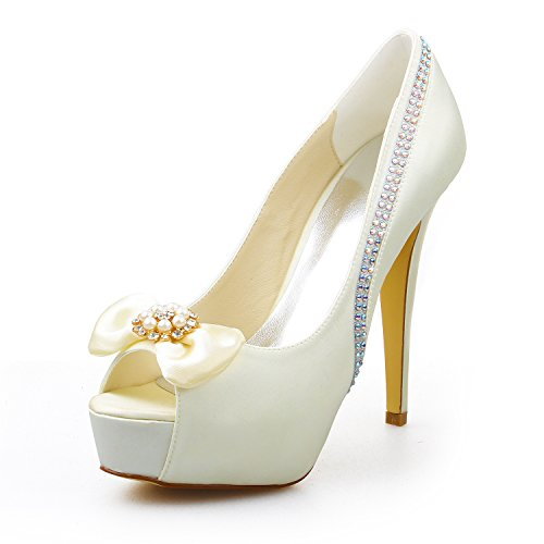 Rhinestone Plataforma de mujer boda Heel de Stiletto Zapatos Peep de Bowknot JIA de Toe Zapatos 20137 novia satén Bombas JIA de marfil qXPx7HwRB