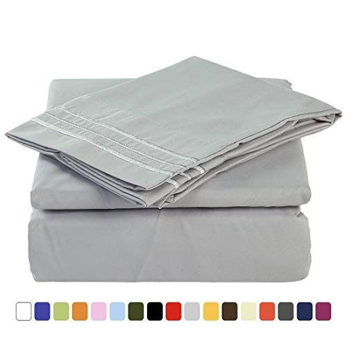 MEROUS Twin Size Bed Sheet Set - 3 Piece - Deep Pockets- Easy Fit - Soft Brushed Microfiber Bedding Sheets - Wrinkle, Fade, Stain Resistant - Twin, Grey