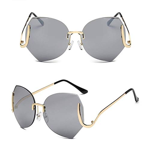 Kasuki 2017 Elegant Oversized Rimless Gradient Sunglasses Women Luxury Diamond Cut Lens Big Glasses Female Eyeglasses UV400#239903 - (Lenses Color: ()