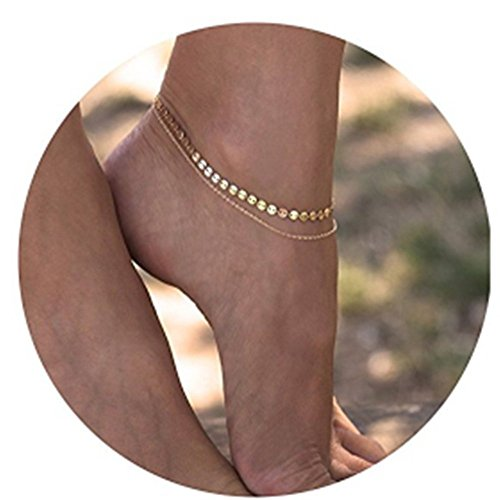 Pesily Adjustable Anklets Golden Chain Bohemia Jewelry Double Round Wafer Simple for Lady Women Girls