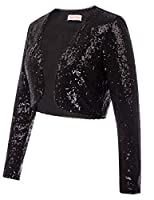 Belle Poque Women's Sequin Jacket Long S...