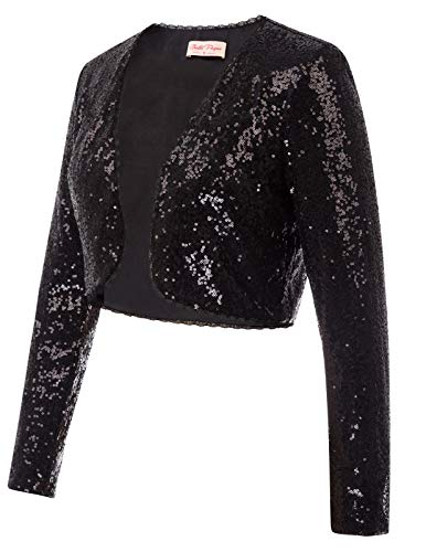 (Vintage Party Sparkly Jacket for Women Top(L,Black))