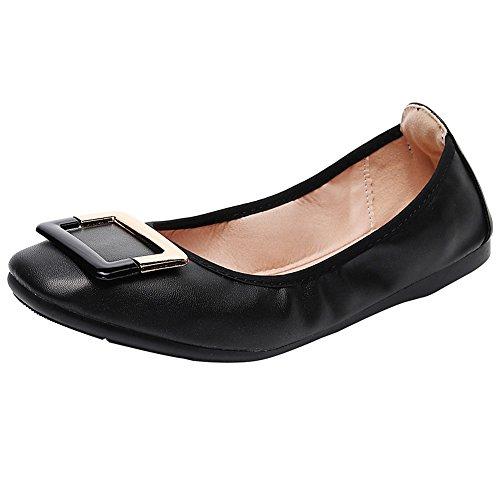 Ballet Shoes On Buckle Pumps Black Flats rismart Slip Square Women's 8YCqYfw