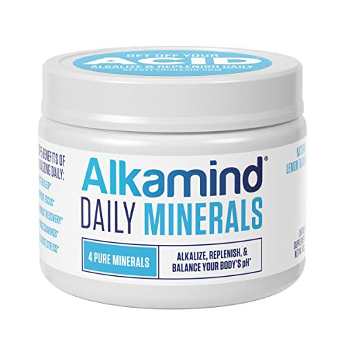 Alkamind Daily Minerals Supplement to GET Off Your Acid! 4 Pure Minerals to Alkalize & Replenish and Balance Your Body's pH - Delicious Natural Lemon Flavor - 30 Day Supply
