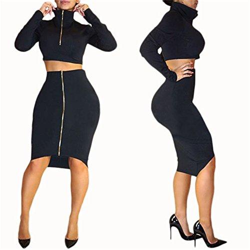 Black 2 Piece Dress (Womens Sexy 2 Pcs Outfits Long Sleeve Midriff-baring Crop Top Shirt Midi Skirt Club Dress (L, black))
