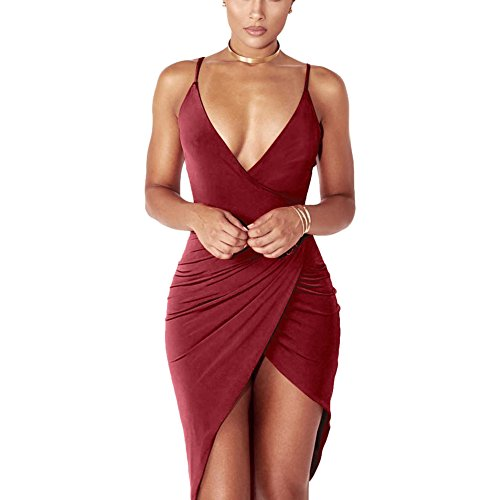 Antopmen Women Sexy V Neck Spaghetti Strap Wrap Club Dress Mini Irregular Hem Dress (Large, Winered)