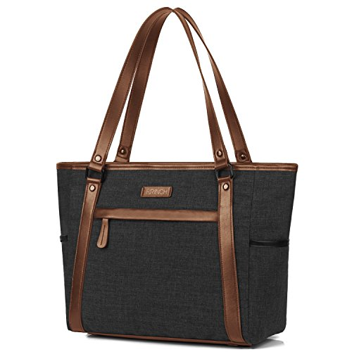 Laptop Tote, BRINCH Classic Nylon Zip Work Tote Bag Shopping Duffel Bag Carry Travel Business Briefcase Shoulder Handbag For Up to 15.6 Inch Laptop / Notebook / MacBook,Black-Brown
