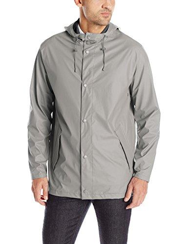 Cole Haan Men's Rubberized Hooded Jacket, Ironstone, Medium