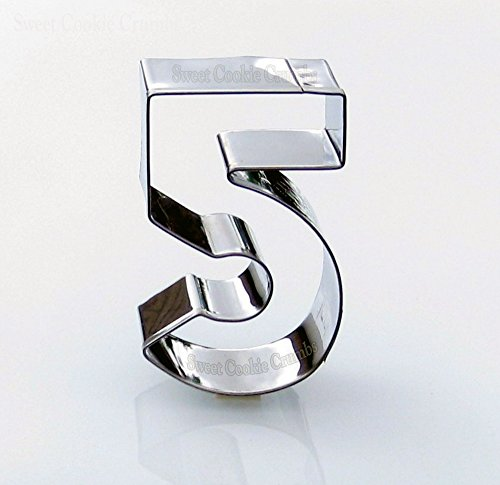 Number Five Cookie Cutters- Stainless Steel (Cookie Large 5 Cutter Number)