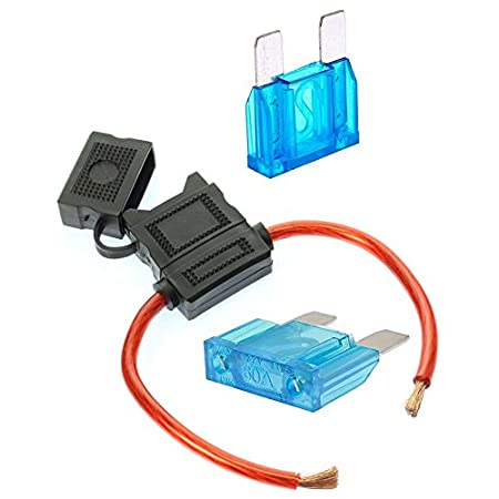 VOODOO 1 2ea 50 Amp Fuses 8 Gauge Maxi Inline Fuse Holder Fuseholder with Cover and