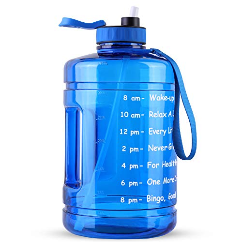 128OZ/1 Gallon Large Water Bottle, Hadisala Wide Mouth Big Water Jug with Motivational Time Marker & Straw, Leakproof BPA Free, Ensure You Drink Enough Water Daily for Gym Outdoor Sports