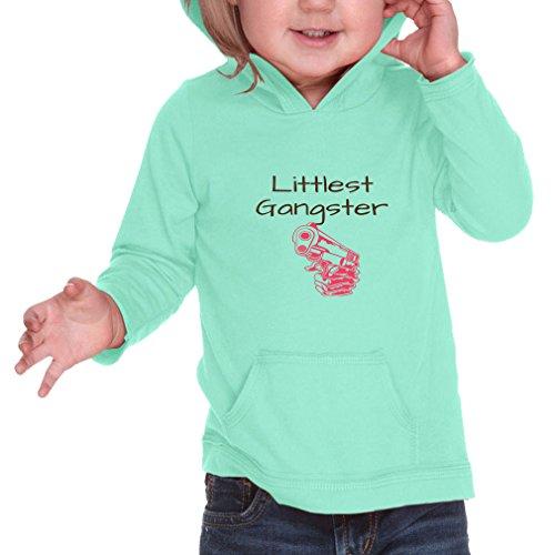 Cute Rascals Littlest Gangster Infant 60/40 Cotton/Polyester Jersey RawEdge Hoodie Sweatshirt - Ice Green, 12 Months