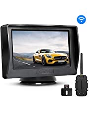 BOSCAM K1 Wireless Backup Camera, Back up Camera with 4.3'' LCD Monitor and IP68 Waterproof Rear View Camera with Night Vision for Cars, Vans,Trucks,RV