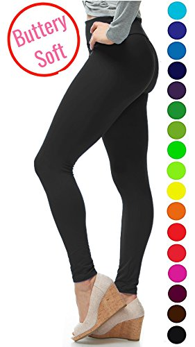 Solid Color Leggings - LMB Yoga Leggings Buttery Soft Material - Variety of Colors - Black