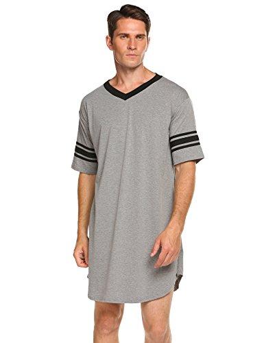 Skylin Men's Nightgown Big & Tall Sleep Shirt Short Sleeve Pajama Henly Plus Size Nightshirt (Grey, XXL)