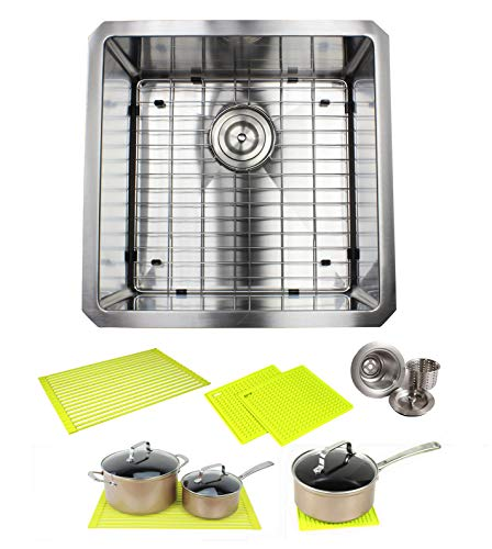 Ariel ARL-R1818 Premium 18 Inch Bar Package by Ariel-16 Gauge Undermount Single Bowl Basin-Complete Sink Pack + Bonus Kitchen Accessories-Ideal for Home Improvement, Renovation, Stainless Steel -