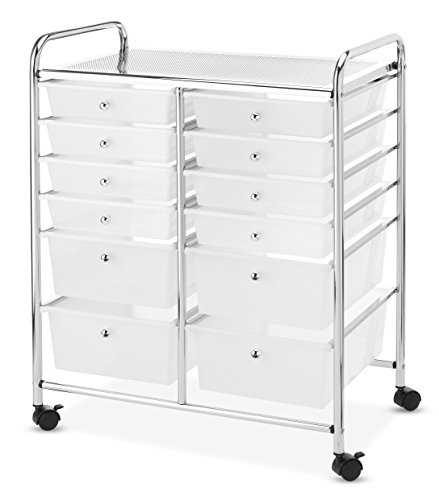 Whitmor Chrome and Plastic 12-Drawer Storage Cart - Mobile Workspace Cart