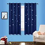 NICETOWN Romantic Starry Sky Curtains - Space Inspired Night Sky Twinkle Star Kid's Room Draperies, Creative Blackout Window Drapes for Teenagers Bedroom (Set of 2, 52 x 63 Inch, Royal Navy Blue)