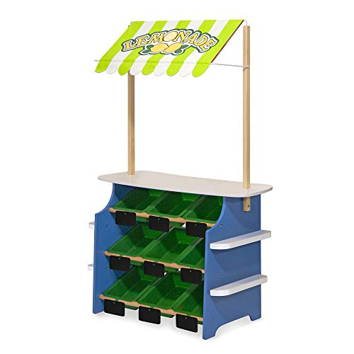 Melissa & Doug Wooden Grocery Store and Lemonade Stand - Reversible Awning, 9 Bins, Chalkboards ()