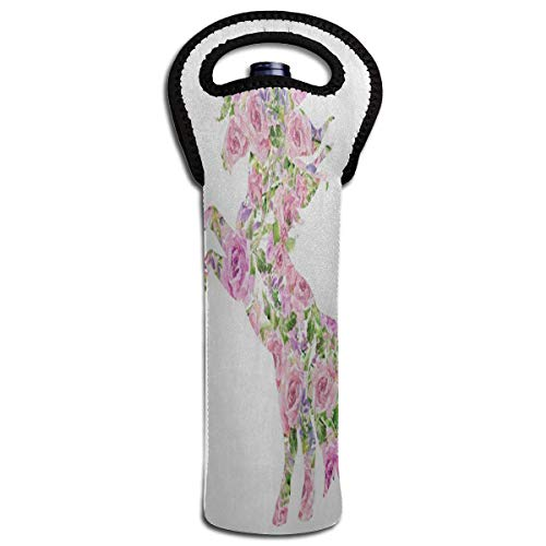 Wine Bag Pink Rose Flower Unicorn 1 Beer Bottle Red Wine Tote Bag Insulated Padded Single Water Gift Carrier Handle -